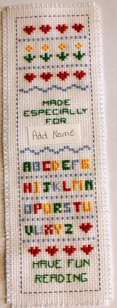 Name  Cross stitch bookmark.  Name can be added to the top if desired. on Etsy, $12.50