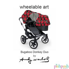 The unparalleled design of the Bugaboo Donkey stroller meets the iconic art of Andy Warhol in this limited edition fabric set. Compatible with all models of the Donkey stroller. We only have a few left in stock, so hurry because once they're gone, they're GONE.  http://www.pishposhbaby.com/bugaboo-andy-warhol.html