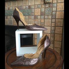 Final Reductionhp 10/08bronze Leather Heels