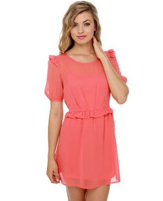 Ruffle and Ready Coral Dress: A little short, but perfect.