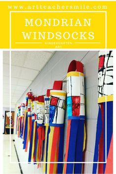 art room Kindergarten students create Mondrian Windsocks, learning about primary colors, line and shape, abstraction and artist inspiration! This elementary art lesson is perfect for your art room this Spring or Summer. Kindergarten Art Lessons, Art Lessons For Kids, Art Lessons Elementary, Elementary Art Education, Art Education Projects, Preschool Art Projects, Art Activities, Math Crafts, Bug Crafts