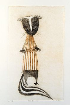 Afternoon Tea No. 9, The Skunk (orange), Drypoint by minu