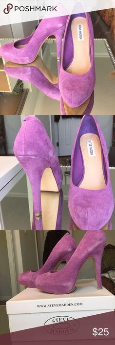 Steve Madden Traisie Lavender Suede Pumps Soft lavender suede pumps with a hint of distress. Steve Madden Shoes Platforms
