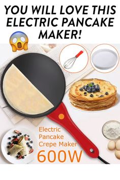 CREPE MAKER You do not feel good to make perfect crepe for your family for breakfast? How to make perfect crepes? Here's our Automatic Portable Crepe Maker for you, which will help you to make crepes in an easy way. Cool Kitchen Gadgets, Kitchen Hacks, Cool Kitchens, Cooking Gadgets, Cooking Tools, Cooking Recipes, Oven Cooking, Cooking Icon, Cooking Beef