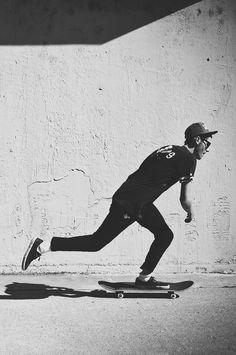 #skateboarding black and white