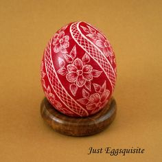 Pysanky Pisanki Ukrainian Polish Easter Egg Red Swirl Hand Decorated Chicken Egg Skrobanki Drapanki Dryapanky Scratch Technique
