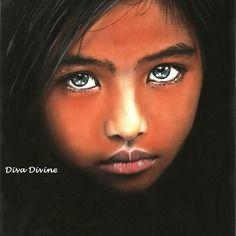 Tableau portrait enfant romantique - format env.a4 - création originale au pastel sec ~ nitâ ~