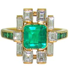 18K Yellow Gold, Emerald & Diamond 1950's Ring | From a unique collection of vintage fashion rings at http://www.1stdibs.com/jewelry/rings/fashion-rings/