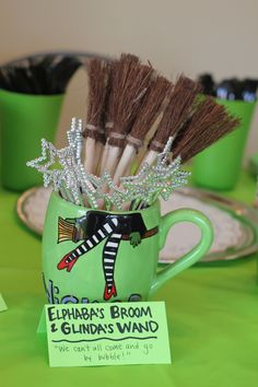 """Glinda's wand and Elphaba's broom - """"We can't all come and go by bubble! 13th Birthday Parties, Grad Parties, 10th Birthday, Broadway Theme, Wicked Musical, Wizard Of Oz, Sweet 16, Party Planning, Party Time"""