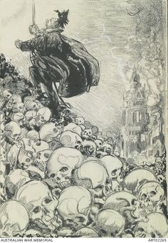 Stepping stones to higher things - Will Dyson, 1916 -  This anti-Kaiser drawing depicts a caricature of Kaiser Wilhelm II climbing up a huge pile of human skulls, representing war dead, while smoking ruins appear in the background. Dyson's distinctive biting satire aimed at war and later directly at Kaiser Wilhelm meant that his works were seen as epitomising the prevalent anti-German sentiment. He published a series of caricatures in 1915 under the title 'Kultur Cartoon', using a figure…