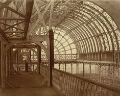 """Philip Henry Delamotte """"The Upper Gallery of the Crystal Palace, Sydenham, England"""" 1853 salted paper South London, Old London, Palace London, Industrial Architecture, Crystal Palace, Historical Photos, England, House Styles, Gallery"""