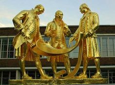 Birmingham Men doing Business - All Golden Boys of the C18 Statue of Matthew Boulton, James Watt and William Murdoch in Broad Street, Birmingham. They were members with Josiah Wedgwood of the influential Lunar Society