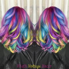Candy Hair Color by @crystalchaos Rainbow Hair Mermaid Hair Unicorn Hair Vivid hair color hotonbeauty.com