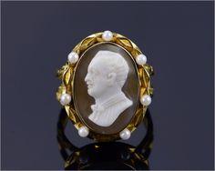 Rare Antique European 18k Yellow Gold & Pearl Hard CAMEO Ring, Size 9.25, 13.6g. | eBay