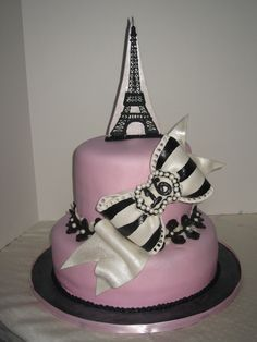 sweet 16 parisian cakes | Gumpaste bow, royal icing tower, covered and accented with MMF.