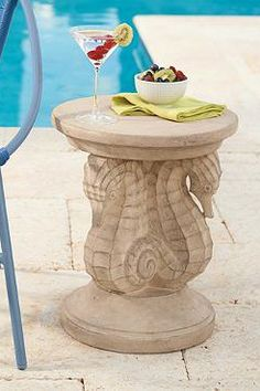 Make an under-the-sea statement, above ground, with our durable, all-weather Sea Horse Side Table. It's a beautiful conversation piece that coordinates with most any décor, indoors or out.