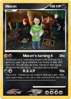 Amazing party invitation idea! Pokemon card