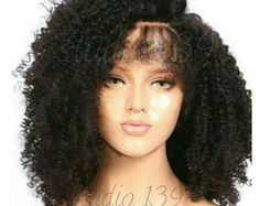 Sexy black kinky curly human hair blend lace front wig