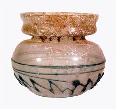 Roman Light Green Glass Jar - G.0048 Origin: Mt. Scopus, Jerusalem Circa: 3 rd Century AD to 4 th Century AD