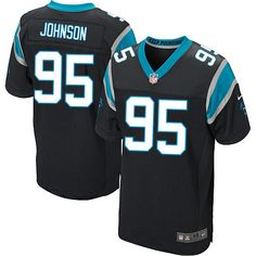 Nike Elite Charles Johnson Black Men's Jersey - Carolina Panthers #95 NFL Home