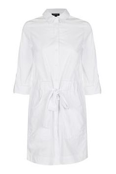 Poplin cotton shirt dress with belted waist and rolled sleeves. Playsuit, Poplin, Winter Outfits, Asos, Topshop, Shirt Dress, How To Wear, Clothes, Shopping