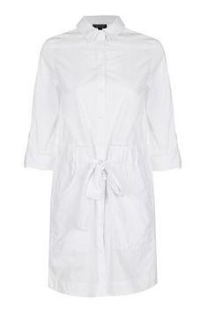 Belted Poplin Shirt Dress