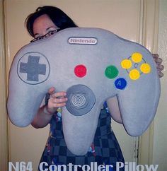 Extra-large N64 Controller pillow.