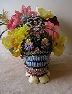 DAY of the DEAD Grinning Skull ART Princess Head with Pink and Yellow Rose Turban One of a Kind ooak on Etsy, $178.00