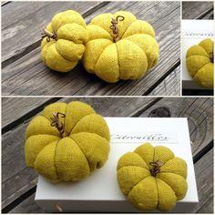 Citrouilles en lin jaune moutarde parfumées à la fleur de lavande : Accessoires de maison par barege-coton