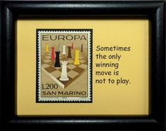 Chess Pieces San Marino -Handmade Framed Postage Stamp Art 0468W