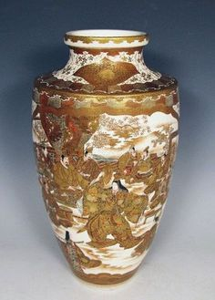 Japanese Satsuma Vase with Scenes of Villagers and Noh Dancers