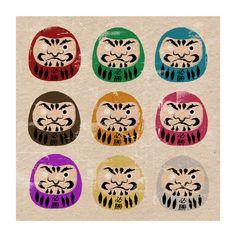 Daruma+Dolls+Print+by+MonsterGallery+on+Etsy,+$6.50
