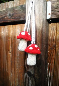Plush Crochet Red Hanging Mushroom Toadstool Stuffies by luvbuzz,