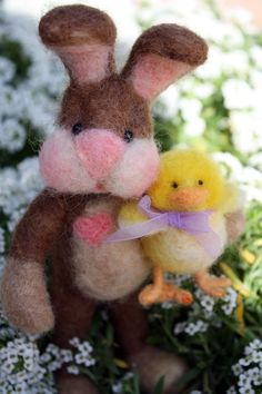 needle felted rabbit and chick