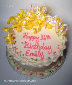 Customer's birthday cake. White cake with vanilla buttercream.