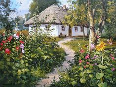 Watercolor Landscape, Landscape Paintings, Acrylic Painting Lessons, Building Art, Fantasy Setting, House Landscape, Contemporary Wall Art, Naive Art, Miniature Houses