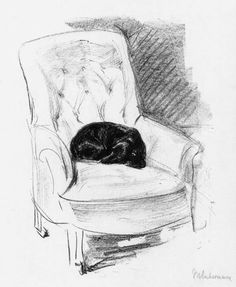 Wiener dog in an armchair - Max Lieberman 1914  Impressionism  Drawing