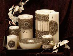 Jolies bougies décorées au henné...