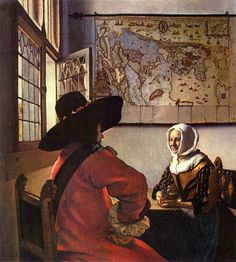 Guy in sombrero struggles to make himself understood while asking Dutch woman with map for directions. Vermeer