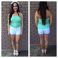 Crochet Renaissance Tube Crop Tank - MINT