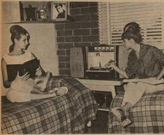 """The caption of this photograph from the student newspaper at San Fernando Valley State College (now CSUN), the Daily Sundial, reads: """"STEREO AND STUDIES - Drama majors Linda DeWoskin and Bonnie Shulem relax in typical Monterey Hall room. The stereo rates supreme, but they say studies do play a part in dorm life."""" Daily Sundial, Sep. 27, 1963."""