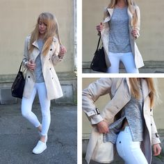Spring outfit. Neutrals. Trenchcoat, white jeans, grey t-shirt. Michael kors bag. White sneakers.