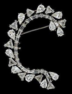 Platinum and Diamond Crescent Brooch   Fashion Jewellery Antique   Rosamaria G Frangini
