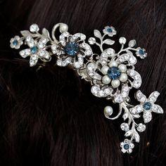 Wedding Hair Comb, Rhinestone flowers and vintage leaves, Montana Blue SABINE CUSTOM FOR deannasantiago via Etsy
