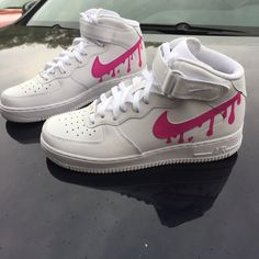 Custom Nike Pink Air Force 1 Drip Women Men by CustomJordans
