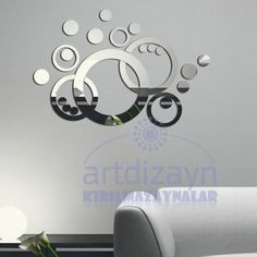 Decorative Wall art mirrors modern design round by walldecal76