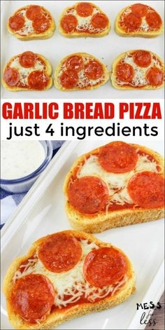 Easy Garlic Bread Pizza is the perfect recipe to make with kids. With just four ingredients, and ten minutes of cook time, this Texas Toast Pizza is a hit. Toast Pizza, Bread Toast, Cheese Toast, Pizza Recipes, Cooking Recipes, Easy Cooking, Easy Bread Pizza Recipe, Healthy Cooking, Dinner Recipes