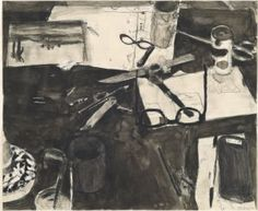 Untitled (Still Life, Cigarette Butts and Glasses) – Work on paper-Drawing – classifications – Richard Diebenkorn Foundation Richard Diebenkorn, Paper Drawing, Painting & Drawing, Monochromatic Paintings, Still Life Drawing, National Gallery Of Art, Rembrandt, American Artists, Abstract Expressionism