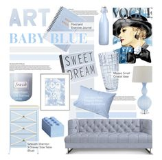 """""""Baby Blue"""" by kusja ❤ liked on Polyvore featuring interior, interiors, interior design, home, home decor, interior decorating, Fresh, Safavieh, Lego and Bormioli Rocco"""