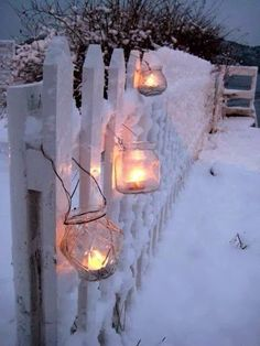 candles on the fence